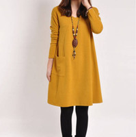 Hot Selling Robes pour Femmes Vêtements Mode Solid Vestidos Pockets Robe Longue Manche Ladies Casual Solide Solid V Neck Robes Plus Size