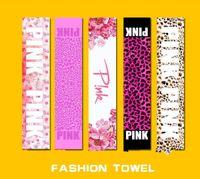 Pink Toalha Lace Pink Letra Fintness Esporte Toalha VS Toalha de Banho Leopard Flower Swimwear Toalhas de Praia 22 * 110cm KKA1432