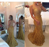 2017 Gold Lace Prom Dresses Mermaid Sexy Illusion Evening Go...