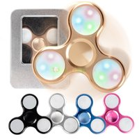2017 New 5 Colors LED Flash Light Hand Spinner Alloy Tri Tri...