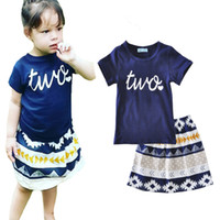 girls clothing sets summer 2017 fashion letter two t shirt+ g...