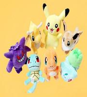 Poke Peluche Pikachu 13-20cm Peluches Poupées Poche Monster Poupées Cartoon Bulbasaur Squirtle Charmander Poupée Cadeau 300pcs OOA1372