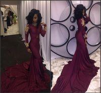 2017 South African Burgundy Long Sleeve Mermaid Prom Dresses...