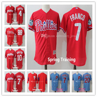 Hommes Philadelphia Phillies # 4 Lenny Dykstra # 7 Maikel Franco # 10 Darren Daulton # 20 Mike Schmidt # 99 Mitch Williams Maillots de baseball cousus