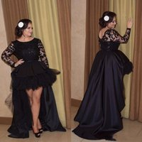 High Low Long Sleeves Prom Dresses Puffy Illusion Appliqued ...