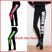 Work out Leggings Cotton Materials Printed Words Yoga Pants ...