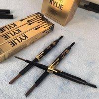 Lápiz impermeable de la pluma de ceja del eyeliner de la ceja del ojo del oro de la edición del cumpleaños de Kylie con la herramienta cosmética 5 del diseño del maquillaje del cepillo DHL libre