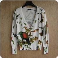 Оптовая Новые женщины кардигана 2015 Весна Осень Белая птица печати свитер женщин Мода Knit Cardigans мягкий хлопок Женская одежда Трикотаж