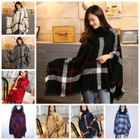 Women Plaid Poncho Scarf Checked Cashmere Scarves Grid Cape ...