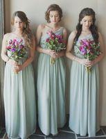 Mint Green Cheap Chiffon Bridesmaid Dresses 2017 A Line Long...