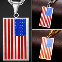 U7 Hot US Collier pendentif drapeau national Accessoires américains bijoux de mode en acier inoxydable / collier plaqué or Patriot pour les chaînes des hommes