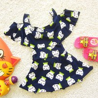 Everweekend Girls Cute Cats Print Halter Swimwear Ruffles on...