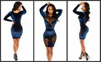 Hot Sexy платья для Clubbing с длинным рукавом Мини Прозрачный клуб платье Hip Ночной клуб платье вечера Wear Velvet Sheer шеи Bodycon платья Lot