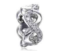 Fête des mères Fleur blanche Infinity Spacer Charm Fit Pour Pandora Bracelet DIY Bead Charm 925 Bijoux en argent sterling
