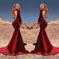 Новые сексуальные Backless Встроенные Mermaid платья выпускного вечера 2017 темно-красный бархат Vestidos De Fiesta Длинные рукава Ruched знаменитости вечернее платье