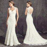 2017 Latest Lace Bridal Wedding Gowns Mermaid Plunge Necklin...