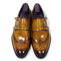 Men Dress shoes Monk Strap Oxfords Custom Handmade shoes Rou...