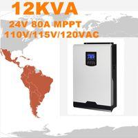 Горячий продавать солнечный инвертор 12Kva 9600W с инвертора сетки 24V к 120V 80A MPPT Чисто инвертор волны синуса гибридный 60A ACCharger