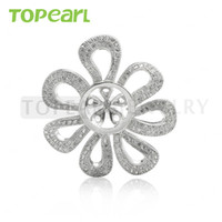 9PM169 Teboer Jewelry 3pcs / LOT Cubic Zirconia Big Blank Pendant Bricolage Bijoux 925 Sterling Silver Findings