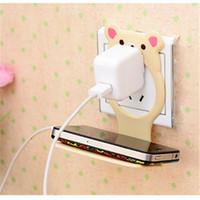 Wholesale-1PC Mode Universal Cutely Bear Mobile Téléphone portable pliable Mobile Charging Wall Support Titulaire Chargeur de téléphone de berceau pour ip5 ip6