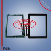 Expédition DHL gratuite Pour iPad 4 Digitizer à écran tactile avec adhésif maison butoon