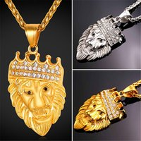 U7 Rhinestone Crown Lion Head Collier pendentif en acier inoxydable / plaqué or Bijoux de mode pour les femmes / hommes parfaits accessoires africains GP2391
