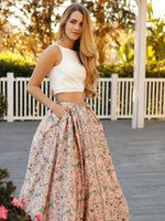 Ivory Pink Floral Print Two Piece Prom Dress 2017 Fashion 2 ...