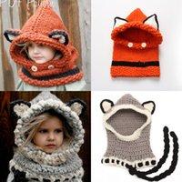 Прекрасные моды Fox Cat Ears зимние ветрозащитный шапки и шарф наборы для малышей вязание крючком Головные уборы Мягкие теплые шапки 1-10 лет детская одежда MC0617
