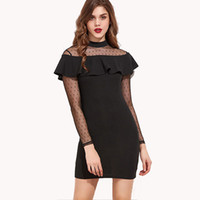 Senhoras Little Black Dress Sexy Sheer Lace Ruffles Partido Vestido Alto Pescoço Long Sleeve Short Cocktail Vestidos de Noite Mini ZSJG0517