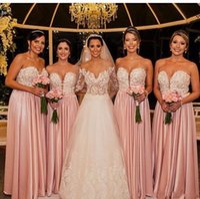 2017 Розовый Элегантный невесты платья Sexy Милая Кружева Аппликация из бисера Длинные атласные горничной честь Халаты выполненный на заказ свадебные платья гостей