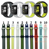 New Arrived Sport NK Silicone Plus de bandes de sangles de trous pour Apple Watch Series 1/2 Bande de sangle 38 / 42mm Bracelet VS Fitbit Alta Blaze Charge Flex