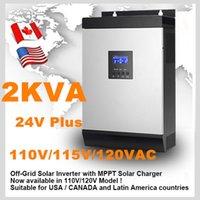 Солнечный инвертор 2Kva 1600W Off инвертор сетки 24V до 110V 115V 120V 60A MPPT Чисто инвертор синусоидальной волны инвертор 30A AC зарядное устройство