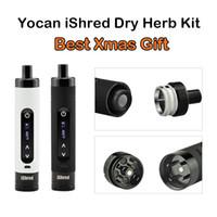 Аутентичные Yocan iShred сухой травы Испаритель Комплекты E сигарет Комплекты 2600mAh С встроенным Херб Grinder ЖК-экран Черный Белый Лучший подарок Xmas Kit