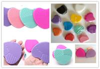 Модная щетка для чистки яиц Heart Heart Shape Makeup Brush Pad Силиконовая перчатка для ногтей Косметическая основа для порошка Clean Tools