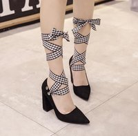 2017 korea cute multi ways wear ankle wrap pointed toe thick...