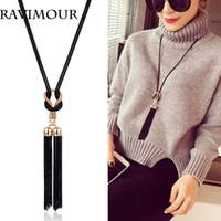 RAVIMOUR Long Necklace Gold Black Chains Necklaces & Pendant...