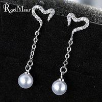 RAVIMOUR Brincos Zircon Long Dangle Earrings for Women Pin F...