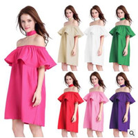 Dresses Women Ruffles Slash Neck Fashion Clothing Summer Off...