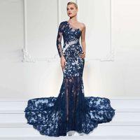 Navy Blue Designer Evening Dress Patterns Sexy 2017 One Shou...