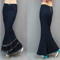 Free Shipping New Fashion Long Denim Ball Gown Skirts For Wo...