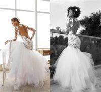 2017 Sexy Backless Кружева Аппликации Свадебные платья с длинными рукавами Урожай Русалка Бато декольте Свадебные платья Этап Юбка Свадебные платья BA4309