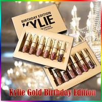 Kylie Gold Anniversaire Anniversaire Lipkit Lord Metal Gold L'édition limitée CONFIRMÉ Matté Lipstick lèvre Kit Cosmétiques 6pcs / set Make Up kits