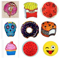 13 diseño Ronda Toalla de playa Chifón Mandala Tapicería Cráneo Helado Emoji Piña Shawl Sandía Hamburg Donuts Yoga Mats KKA1570