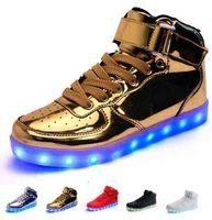 2017 Chaussures lumineuses colorées USB chargeant fantôme LED lumineuses transpirables lumineuses chaussures chaussures hommes femmes Chaussures de course avec boîte réelle