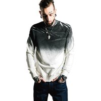 Nova Moda Top Quality Homens Pomo Graduado Irregular Desenhado Brand Vestuário O-Pescoço Casual Casacos Pulôver