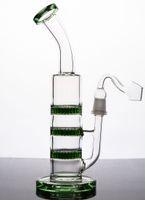 EN STOCK Bongs verts en verre avec 3 perc dab en nid d'abeille tube d'eau en verre avec joint de 14 mm