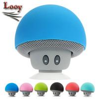 Haut-parleur portable Bluetooth Haut-parleur mains libres Mushroom sans fil avec support de disque de suce pour iphone Samsung PC tablette MP3 avec boîte de détail
