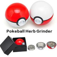 Venta al por mayor Pokeball Grinder 55mm Poke bola Herb Grinders metal aleación de zinc Molinillos de metal plástico 3 piezas de fumar accesorios