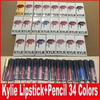 KYLIE JENNER LIP KIT lipliner Lipkit Velvetine Жидкие матовые наборы губной помады в красном бархатном макияже Блеск для губ с лайнерным карандашом 34 цвета в ассортименте