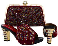 Wine Color Italian Shoe with Matching Bag Decorated with Rhi...